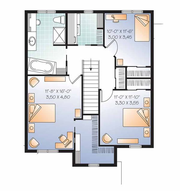 Country Floor Plan - Upper Floor Plan Plan #23-2503