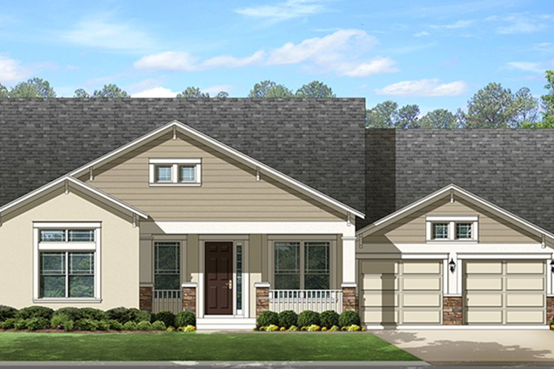 Ranch Exterior - Front Elevation Plan #1058-145 - Houseplans.com