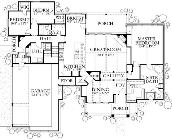 Dream House Plan - Country Floor Plan - Main Floor Plan #80-190