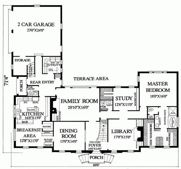 Colonial Floor Plan - Main Floor Plan Plan #137-200