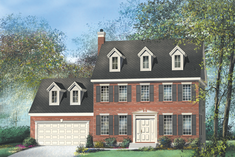 Colonial Style House Plan - 3 Beds 2.5 Baths 1664 Sq/Ft Plan #25-278 Exterior - Front Elevation