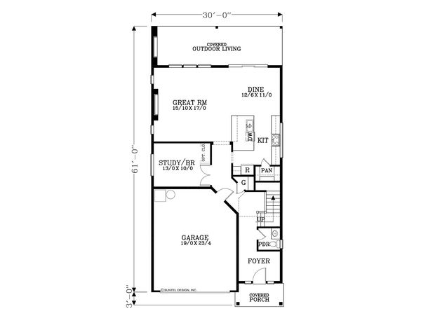 Craftsman Floor Plan - Main Floor Plan Plan #53-587