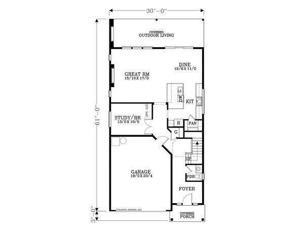 Architectural House Design - Craftsman Floor Plan - Main Floor Plan #53-587