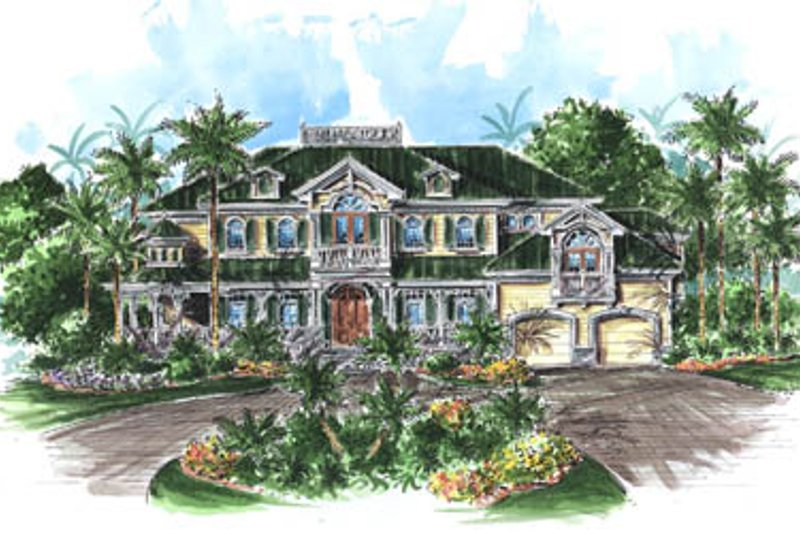Mediterranean Style House Plan - 4 Beds 4.5 Baths 5362 Sq/Ft Plan #27-225 Exterior - Front Elevation