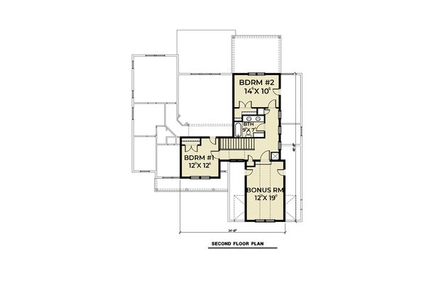 Craftsman Floor Plan - Upper Floor Plan Plan #1070-70