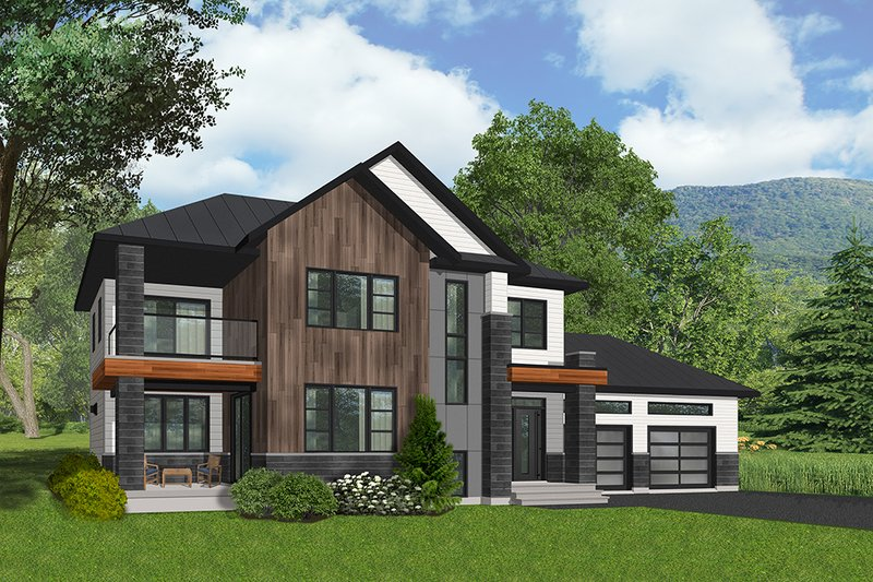 Modern Style House Plan - 3 Beds 3 Baths 2164 Sq/Ft Plan #23-2309 Exterior - Front Elevation