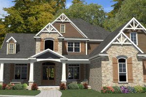 Craftsman Exterior - Front Elevation Plan #63-392