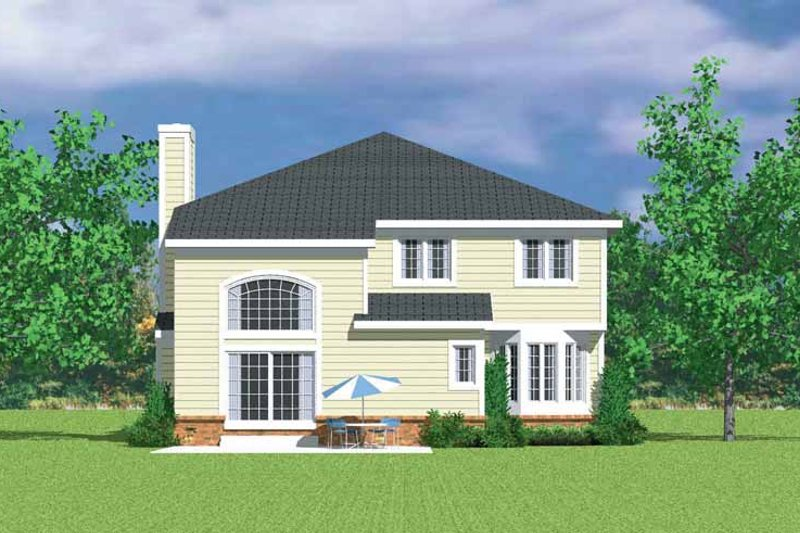 House Blueprint - Country Exterior - Rear Elevation Plan #72-1124