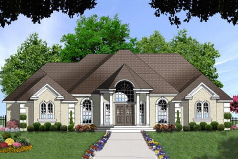 European Exterior - Front Elevation Plan #40-320 - Houseplans.com