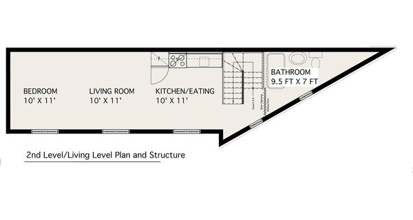 Modern design, 2 story studio plan, loft design, upper floor plan