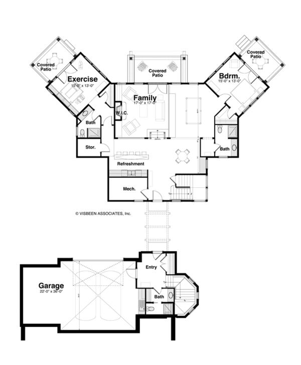 Craftsman Floor Plan - Lower Floor Plan #928-259