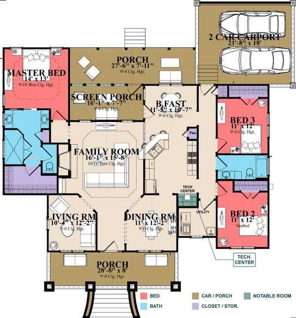 Southern Floor Plan - Main Floor Plan #63-405