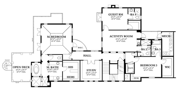 Mediterranean Floor Plan - Upper Floor Plan Plan #1058-152