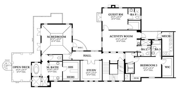 House Plan Design - Mediterranean Floor Plan - Upper Floor Plan #1058-152