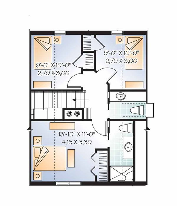 European Floor Plan - Upper Floor Plan Plan #23-2486
