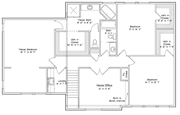 Traditional Floor Plan - Upper Floor Plan Plan #1060-15