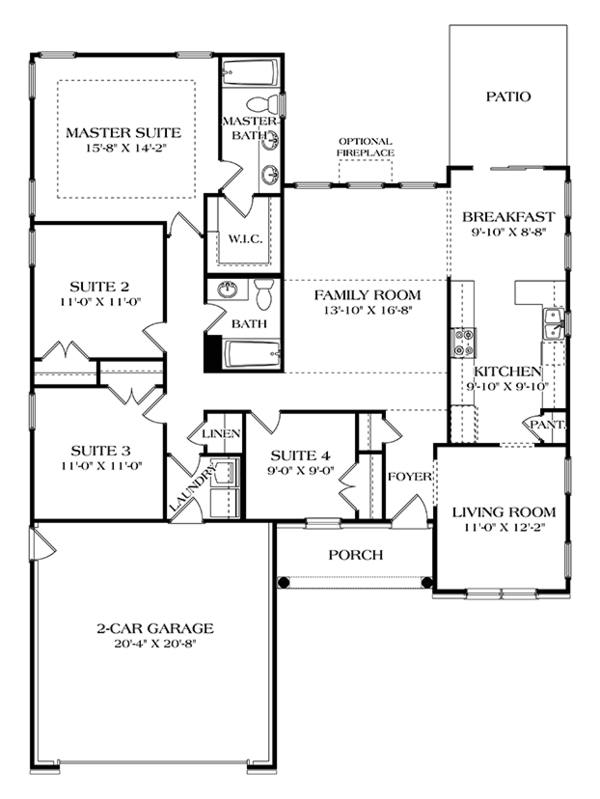 Colonial Floor Plan - Main Floor Plan Plan #453-629