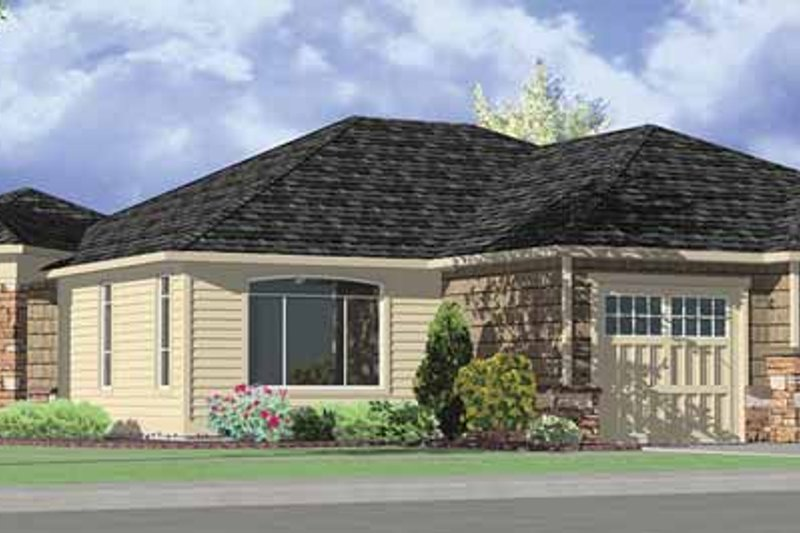 Architectural House Design - Prairie Exterior - Front Elevation Plan #951-12