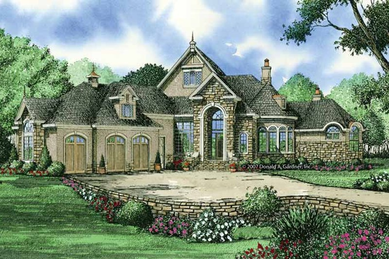 European Exterior - Front Elevation Plan #929-864