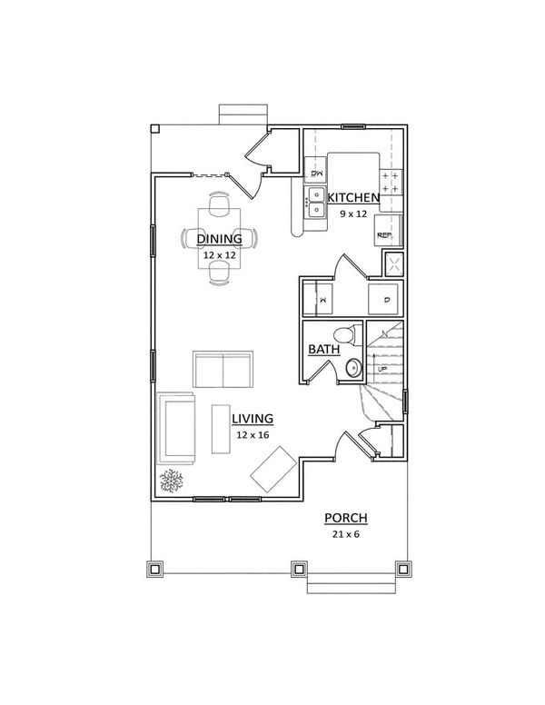 Traditional Floor Plan - Main Floor Plan Plan #936-28