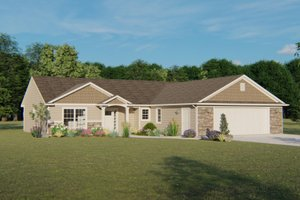 Ranch Exterior - Front Elevation Plan #1064-46