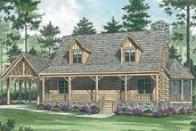 Log Exterior - Front Elevation Plan #453-475