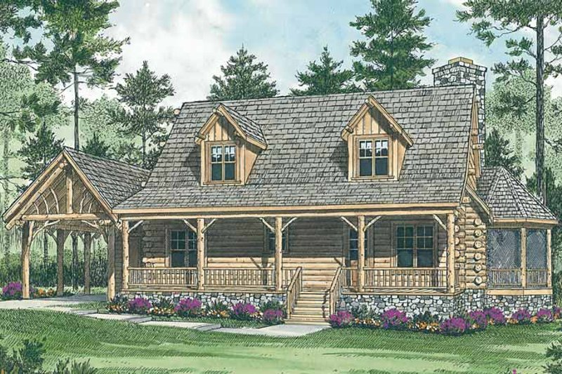 Architectural House Design - Log Exterior - Front Elevation Plan #453-475