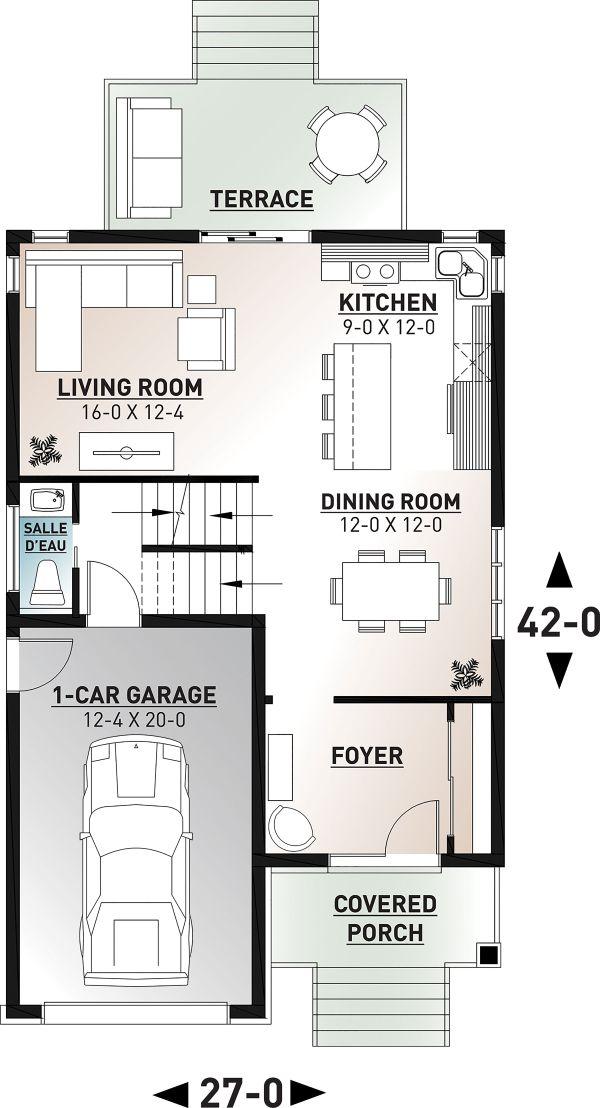 Contemporary Floor Plan - Main Floor Plan Plan #23-2708