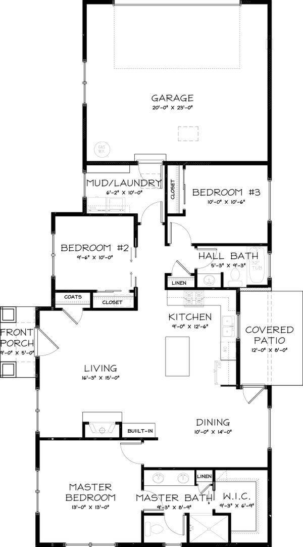 Craftsman Floor Plan - Main Floor Plan Plan #434-23