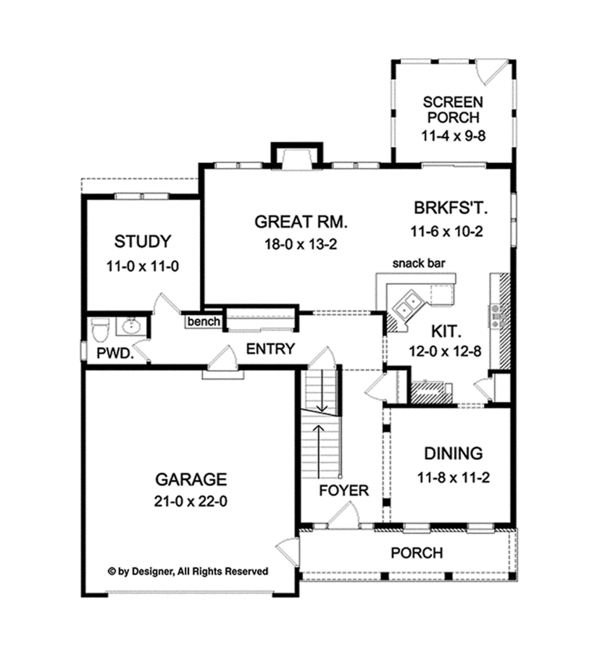 Country Floor Plan - Main Floor Plan Plan #1010-121