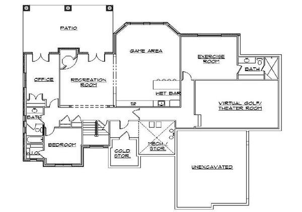 House Plan Design - European Floor Plan - Lower Floor Plan #5-314