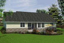 House Blueprint - Bungalow style, Craftsman design rear elevation