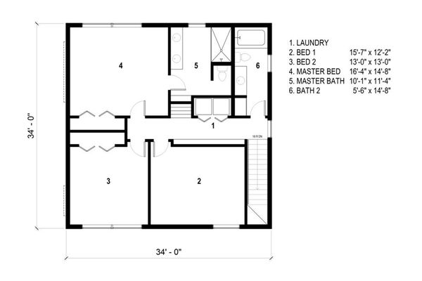 Modern Floor Plan - Upper Floor Plan Plan #497-26