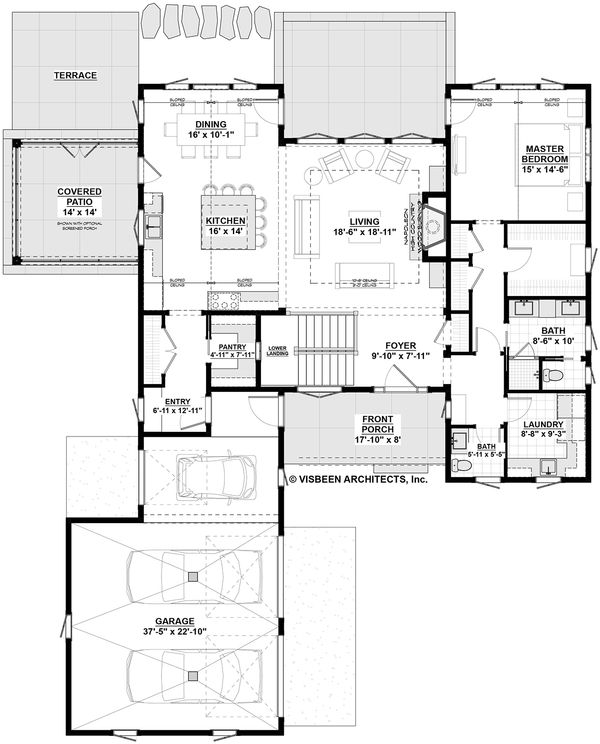 Farmhouse Style House Plan - 4 Beds 3.5 Baths 3445 Sq/Ft Plan #928-303 Floor Plan - Main Floor Plan