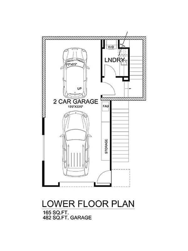 Modern Style House Plan - 3 Beds 3.5 Baths 1990 Sq/Ft Plan #484-1 Floor Plan - Lower Floor Plan