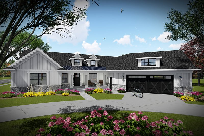 Dream House Plan - Ranch Exterior - Front Elevation Plan #70-1480