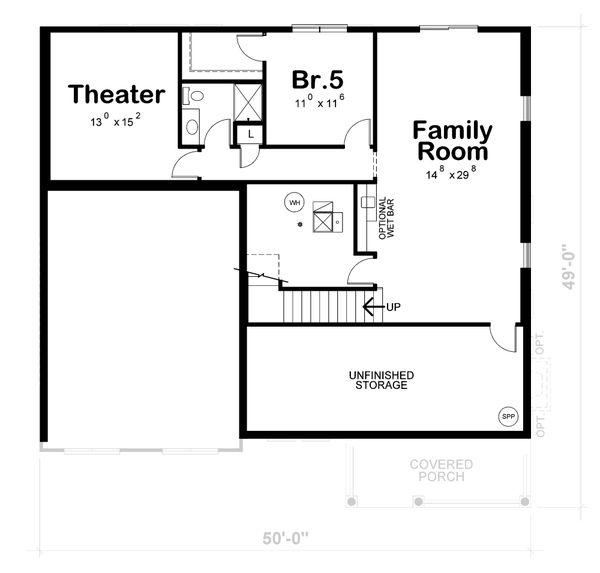 Traditional Floor Plan - Lower Floor Plan #20-2421