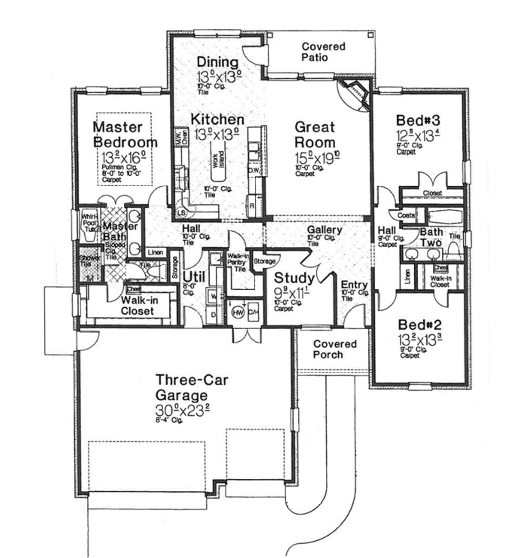 Traditional Style House Plan 3 Beds 2 Baths 2078 Sq Ft