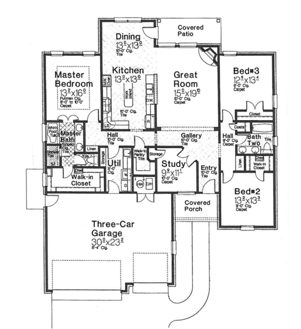Traditional Floor Plan - Main Floor Plan Plan #310-1262