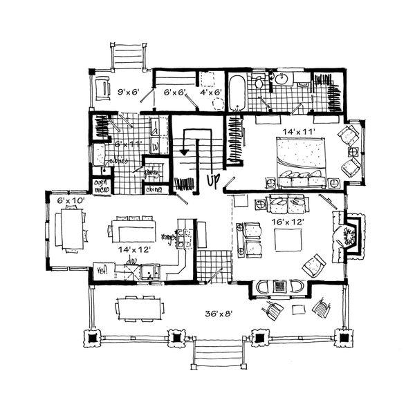 Architectural House Design - Cabin Floor Plan - Main Floor Plan #942-33