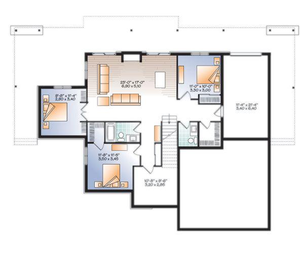 Craftsman Floor Plan - Lower Floor Plan #23-2712