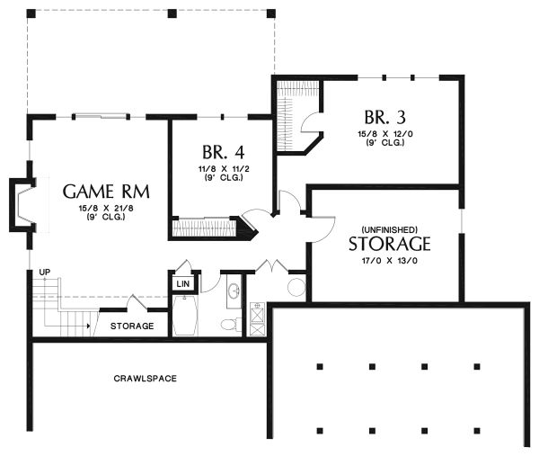 Cottage Floor Plan - Lower Floor Plan Plan #48-969