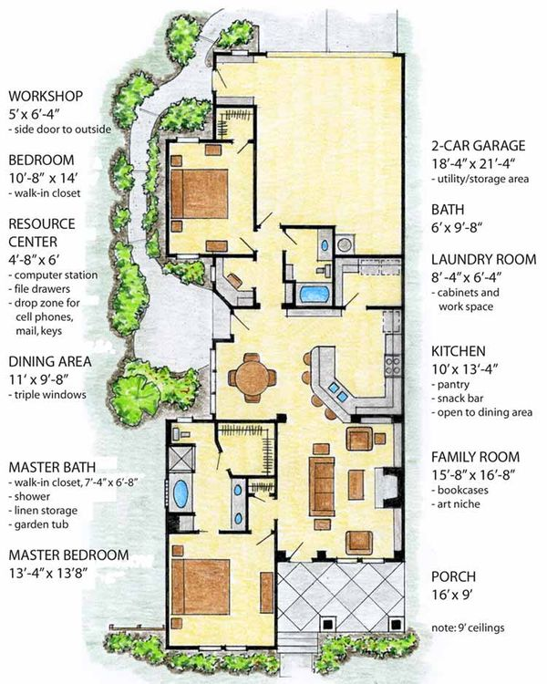 Craftsman Floor Plan - Main Floor Plan Plan #410-3562