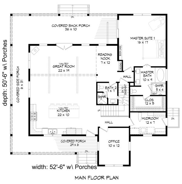 Country Floor Plan - Main Floor Plan #932-348