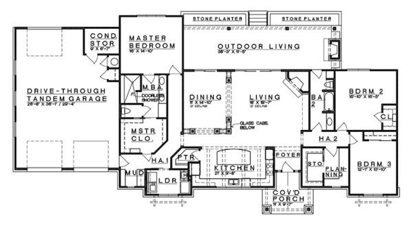 Craftsman Floor Plan - Main Floor Plan Plan #935-15