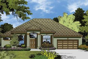 Dream House Plan - Mediterranean Exterior - Front Elevation Plan #1015-17
