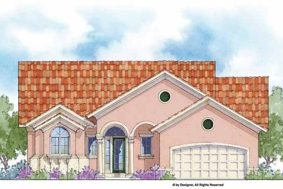 Mediterranean Exterior - Front Elevation Plan #938-39