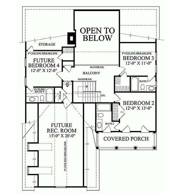 Southern Floor Plan - Upper Floor Plan Plan #137-189