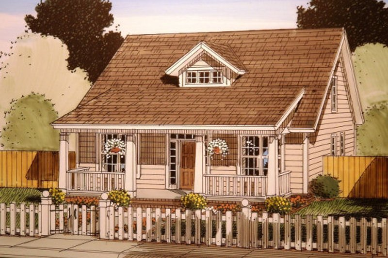Cottage Exterior - Front Elevation Plan #513-6
