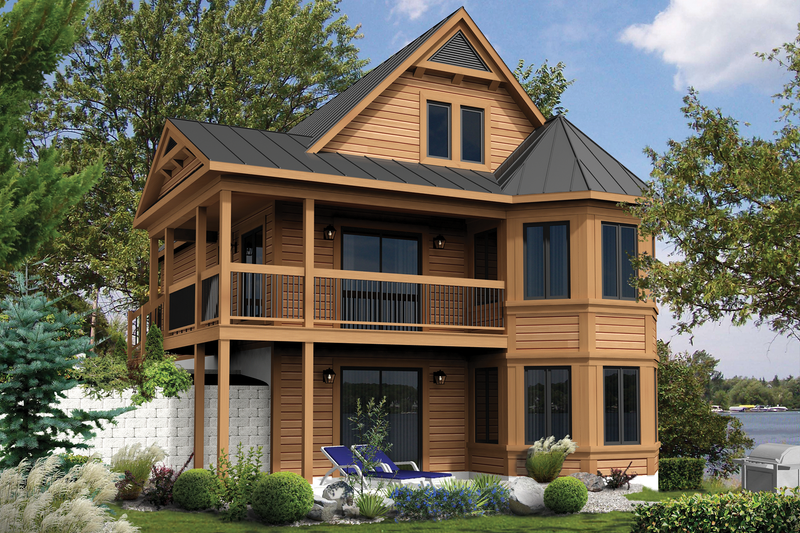 Cabin Style House Plan - 4 Beds 1 Baths 2079 Sq/Ft Plan #25-4386 Exterior - Front Elevation